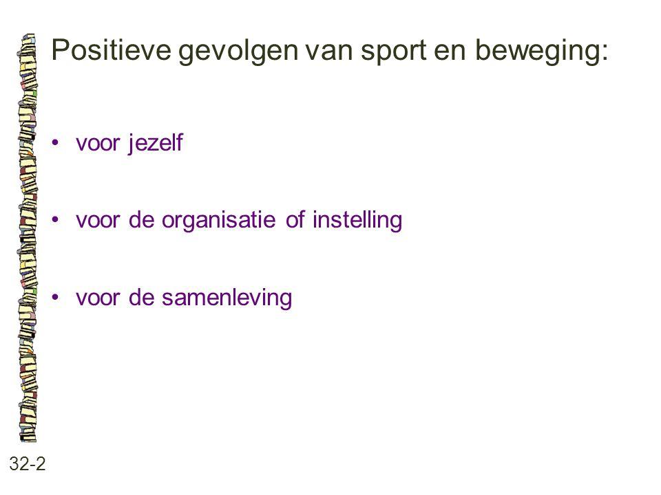 Positieve gevolgen van sport en beweging:
