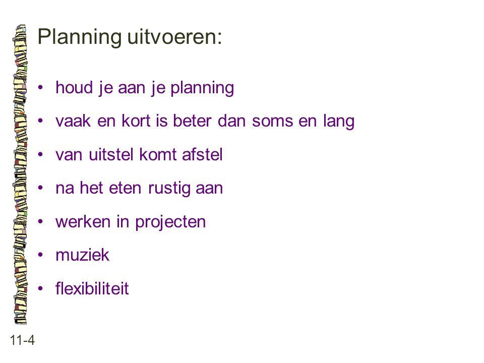Planning uitvoeren: • houd je aan je planning