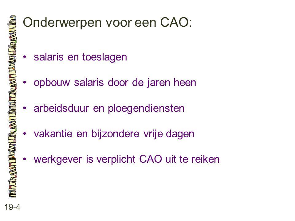 Onderwerpen voor een CAO: