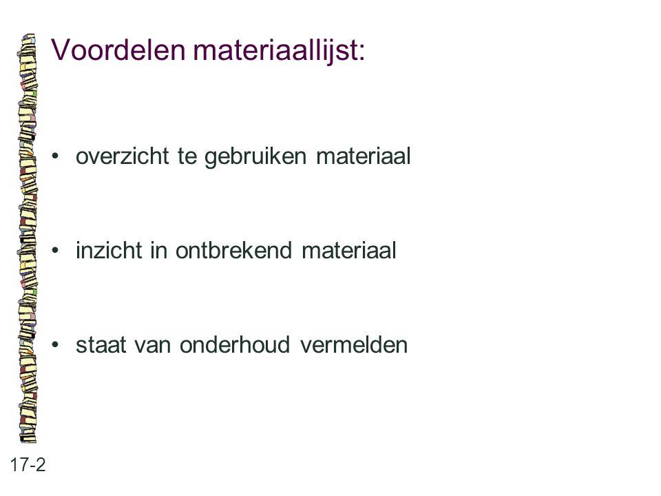 Voordelen materiaallijst: