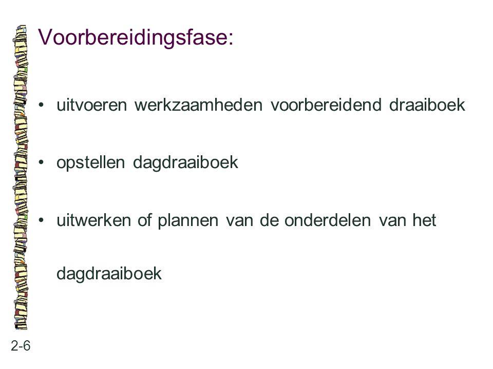Voorbereidingsfase: uitvoeren werkzaamheden voorbereidend draaiboek