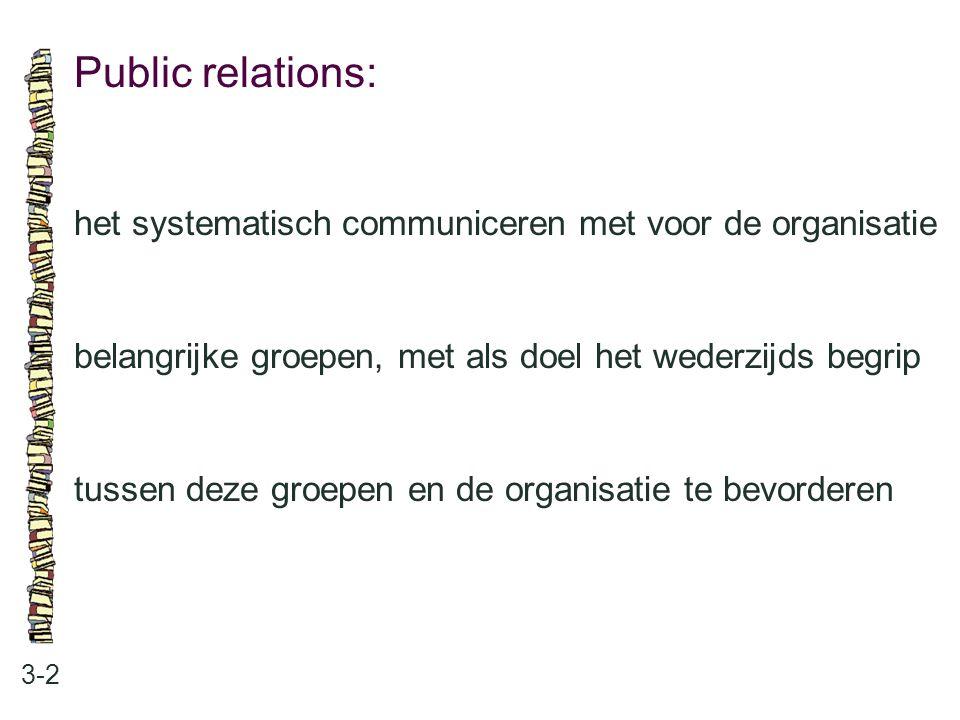 Public relations: het systematisch communiceren met voor de organisatie. belangrijke groepen, met als doel het wederzijds begrip.