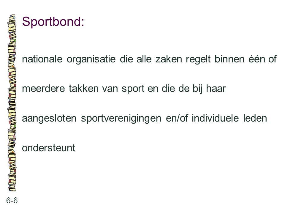 Sportbond: nationale organisatie die alle zaken regelt binnen één of