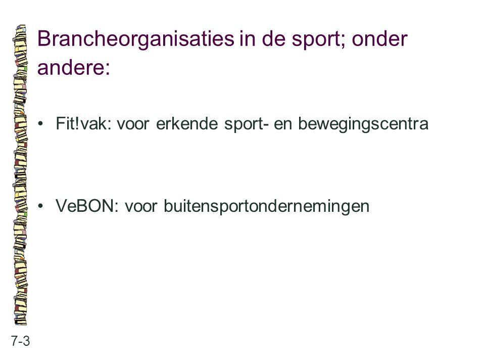 Brancheorganisaties in de sport; onder andere: