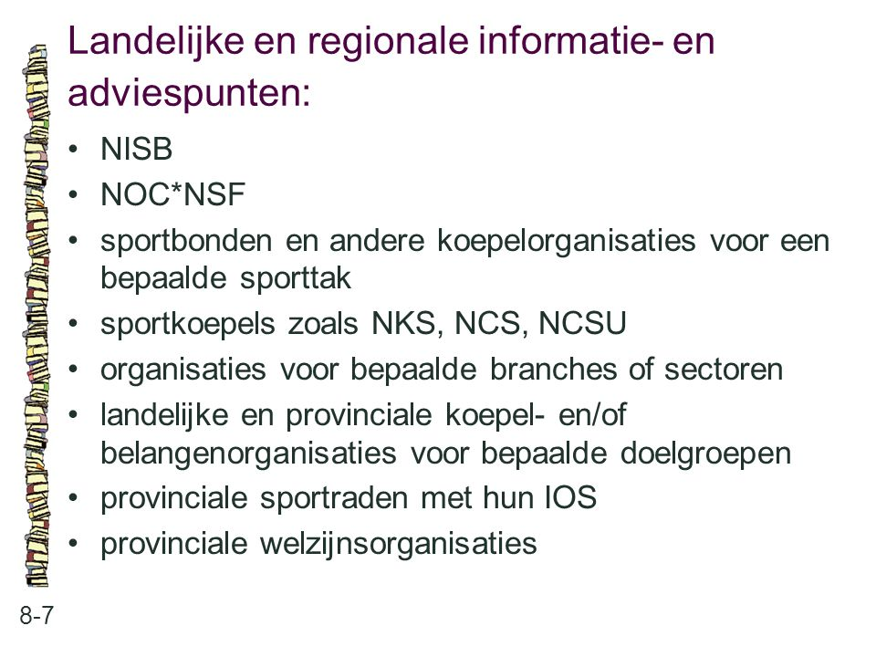 Landelijke en regionale informatie- en adviespunten: