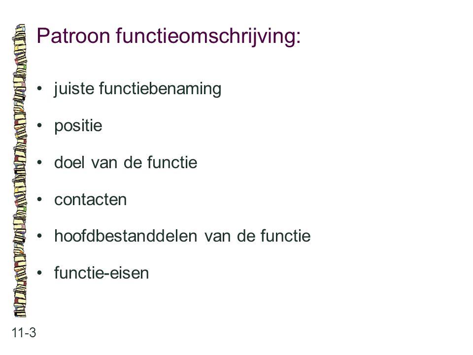 Patroon functieomschrijving: