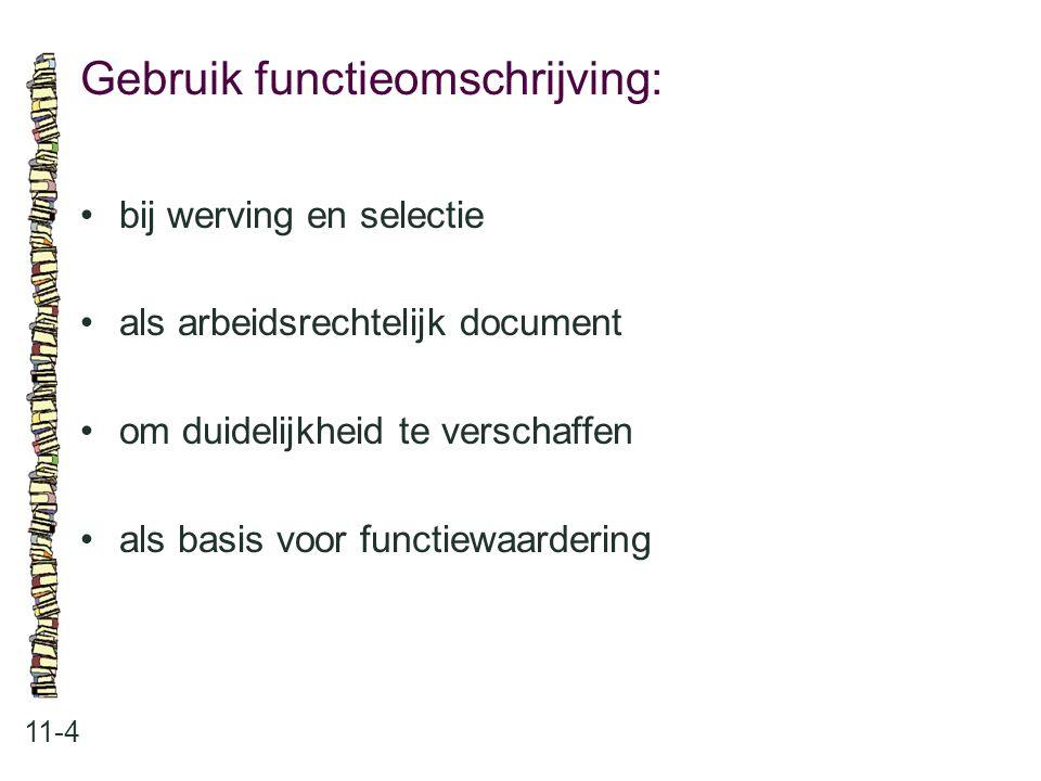 Gebruik functieomschrijving: