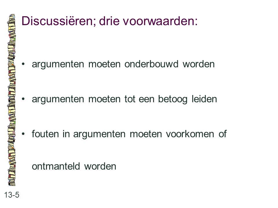 Discussiëren; drie voorwaarden: