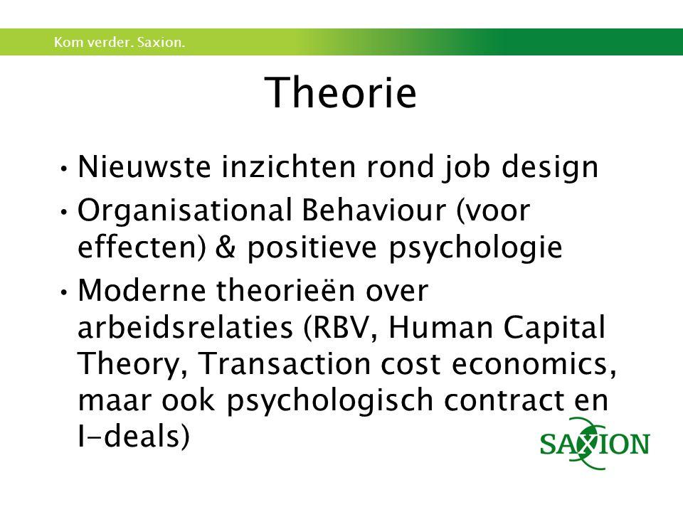 Theorie Nieuwste inzichten rond job design