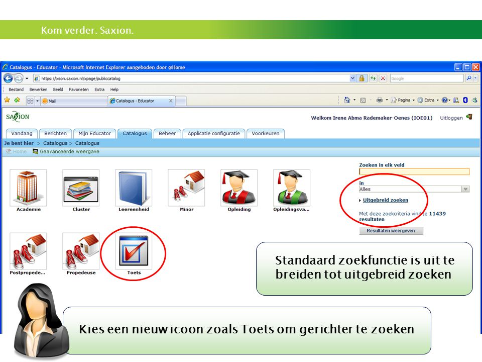 Kies een nieuw icoon zoals Toets om gerichter te zoeken
