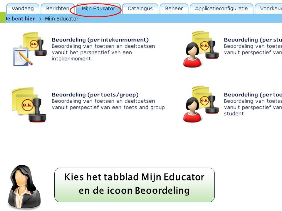Kies het tabblad Mijn Educator en de icoon Beoordeling