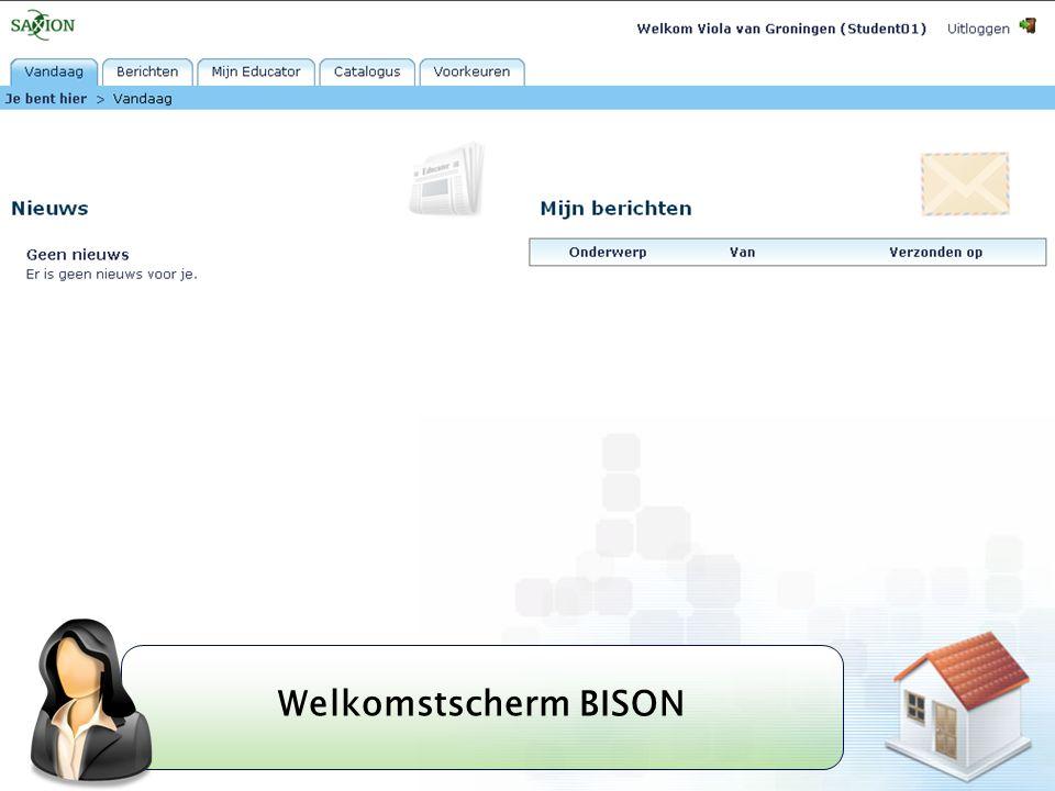 Welkomstscherm BISON