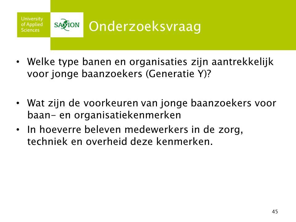 Onderzoeksvraag Welke type banen en organisaties zijn aantrekkelijk voor jonge baanzoekers (Generatie Y)