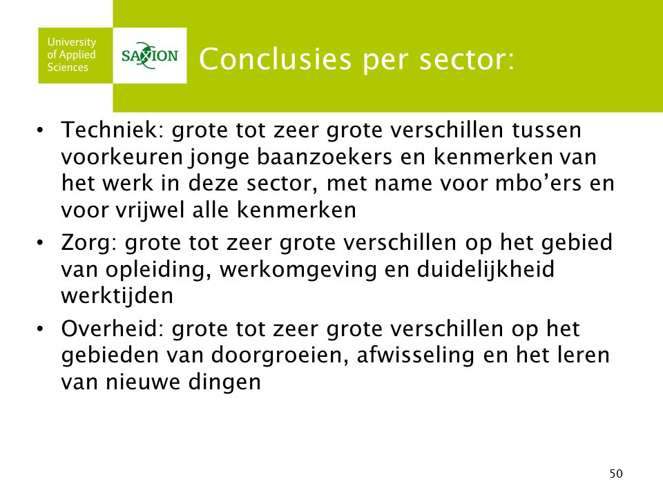 Conclusies per sector: