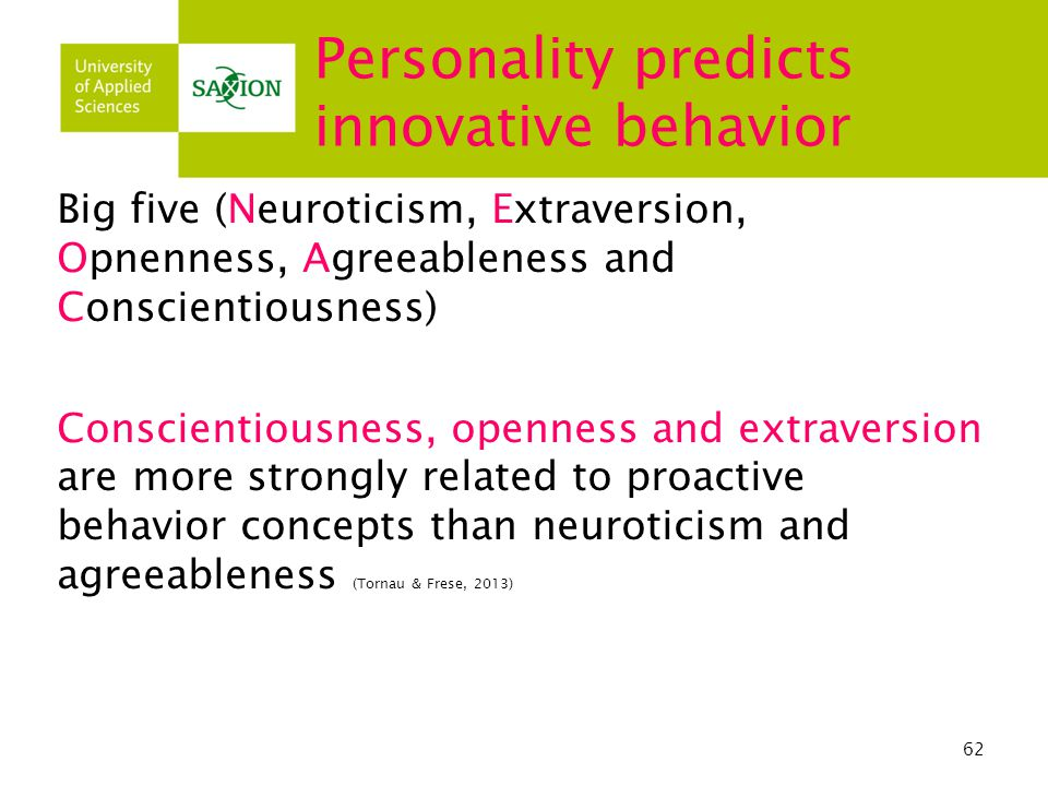Personality predicts innovative behavior