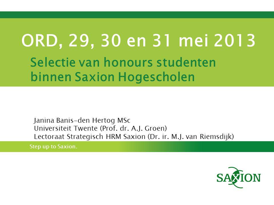 Selectie van honours studenten binnen Saxion Hogescholen