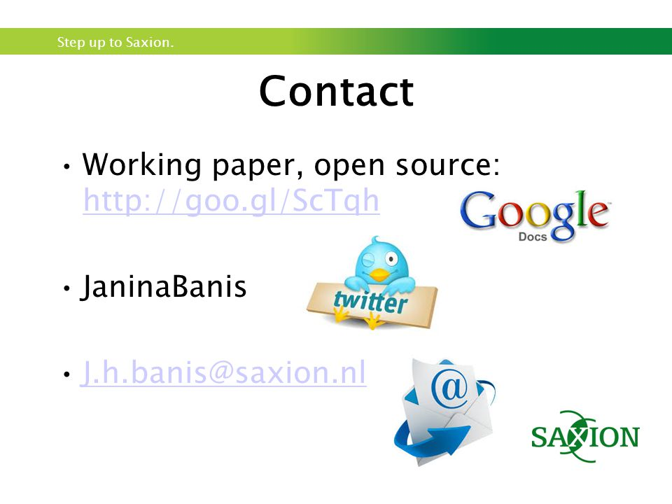 Contact Working paper, open source: http://goo.gl/ScTqh JaninaBanis
