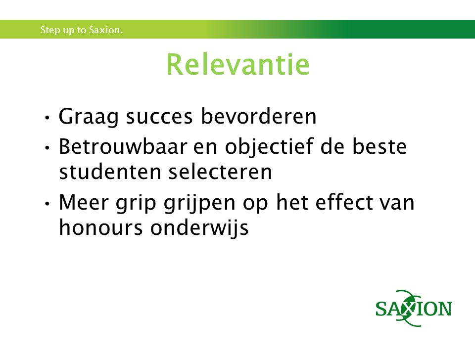 Relevantie Graag succes bevorderen