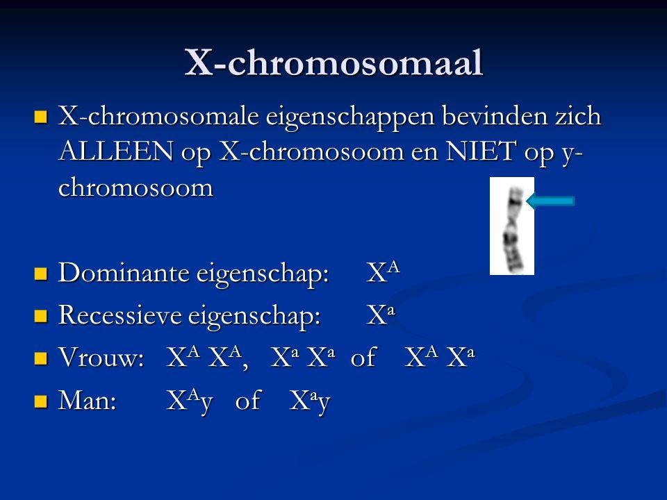 X-chromosomaal X-chromosomale eigenschappen bevinden zich ALLEEN op X-chromosoom en NIET op y-chromosoom.