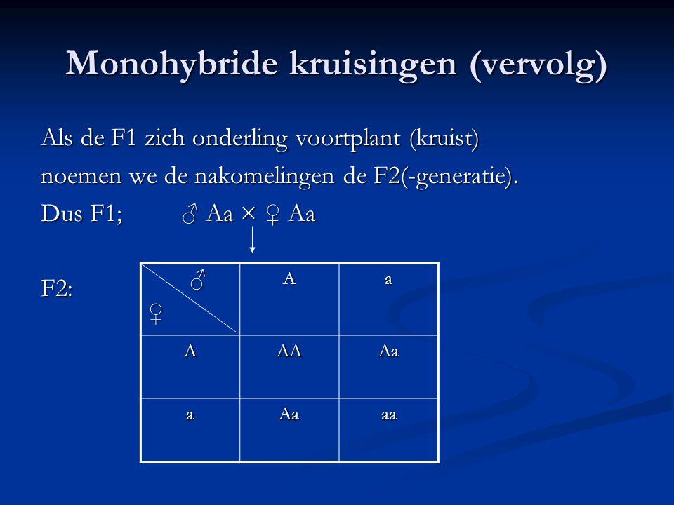 Monohybride kruisingen (vervolg)