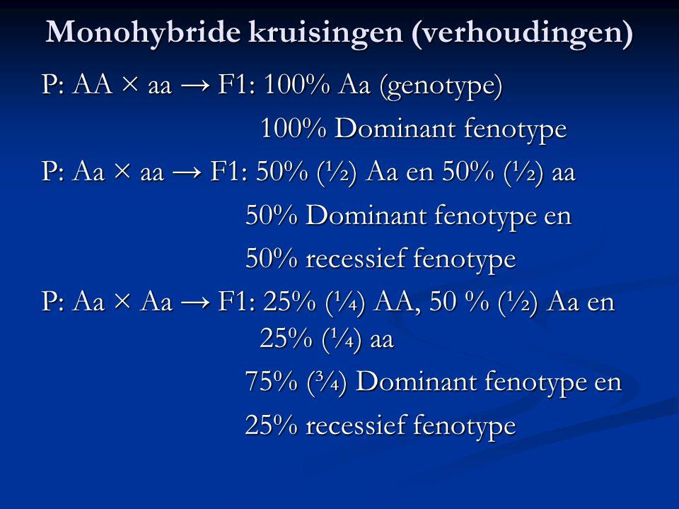 Monohybride kruisingen (verhoudingen)