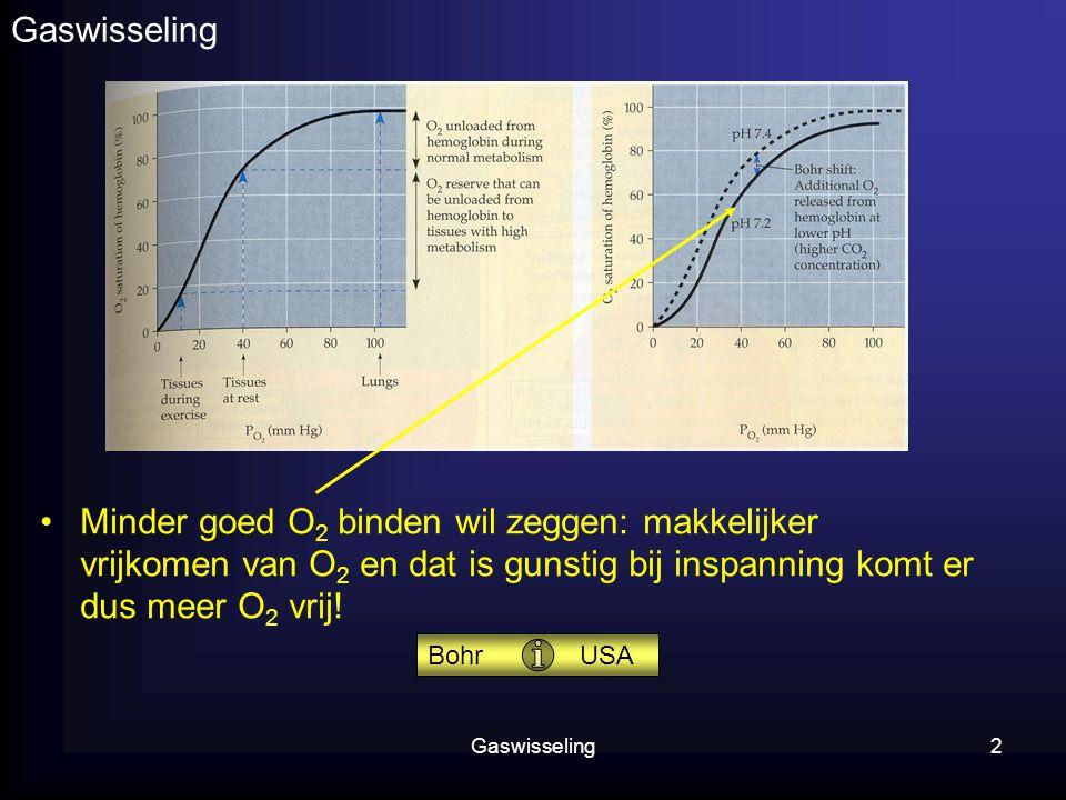 Gaswisseling Minder goed O2 binden wil zeggen: makkelijker vrijkomen van O2 en dat is gunstig bij inspanning komt er dus meer O2 vrij!