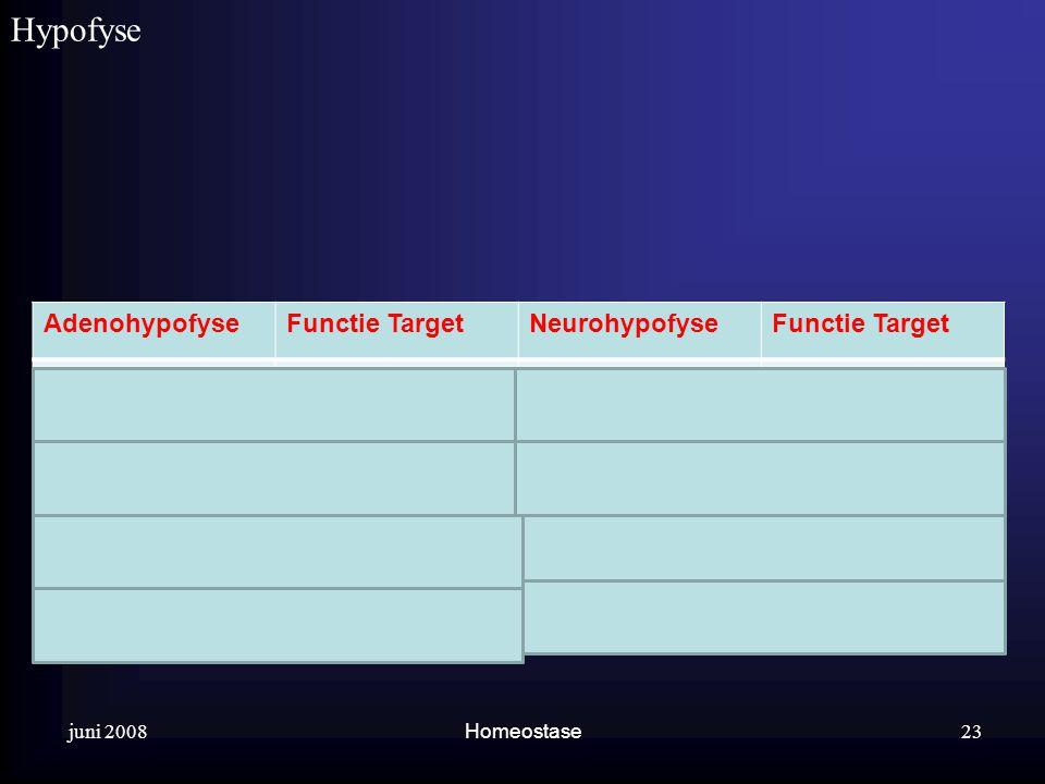 Hypofyse . Adenohypofyse Functie Target Neurohypofyse Groeihormoon