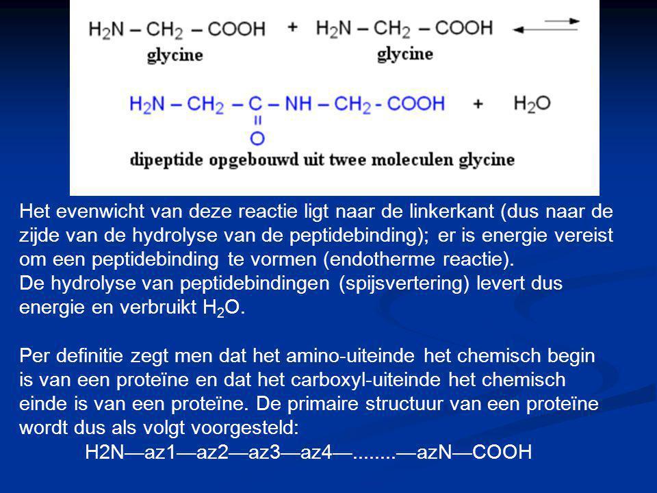 Het evenwicht van deze reactie ligt naar de linkerkant (dus naar de zijde van de hydrolyse van de peptidebinding); er is energie vereist om een peptidebinding te vormen (endotherme reactie).