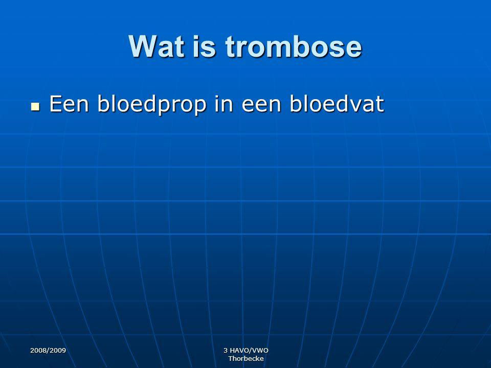 Wat is trombose Een bloedprop in een bloedvat 2008/2009 3 HAVO/VWO