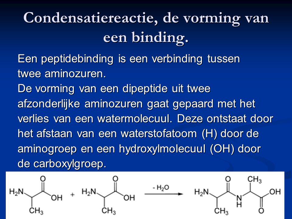 Condensatiereactie, de vorming van een binding.