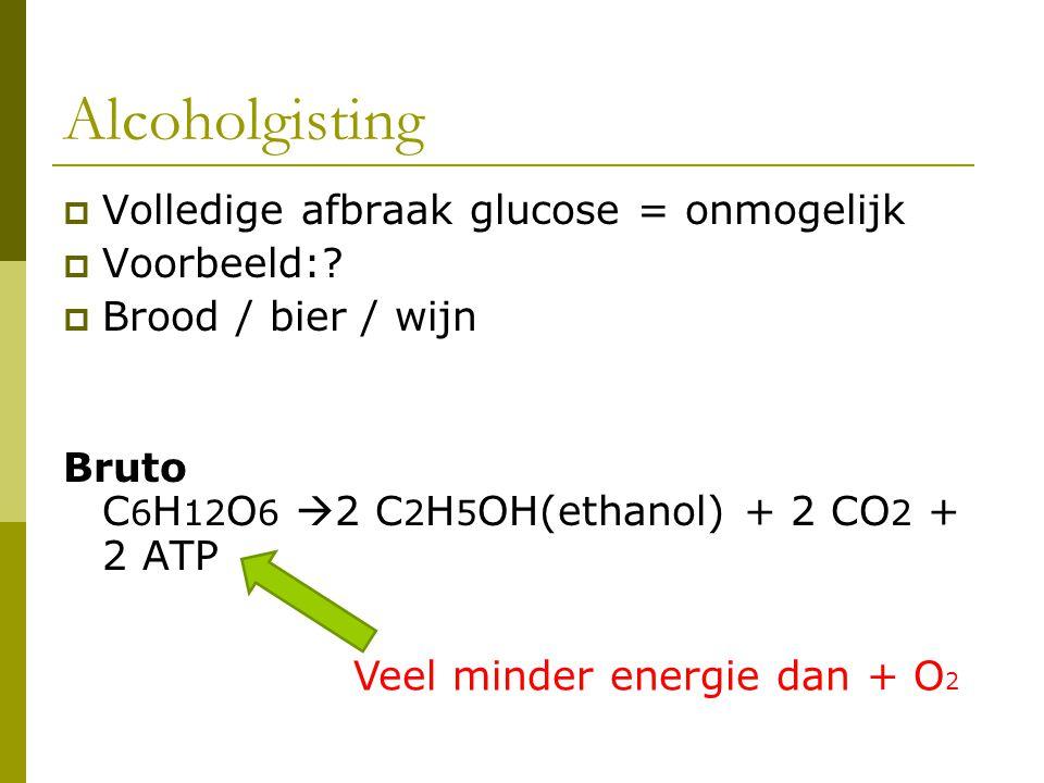Alcoholgisting Volledige afbraak glucose = onmogelijk Voorbeeld: