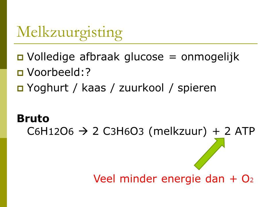 Melkzuurgisting Volledige afbraak glucose = onmogelijk Voorbeeld: