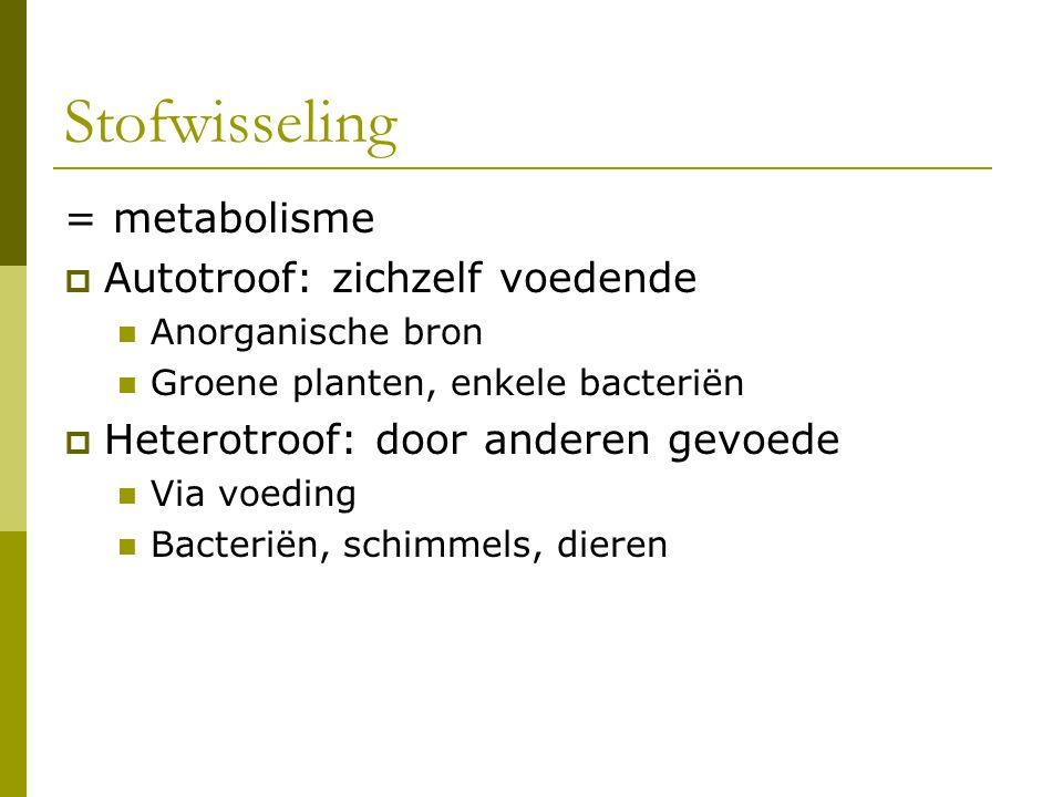 Stofwisseling = metabolisme Autotroof: zichzelf voedende
