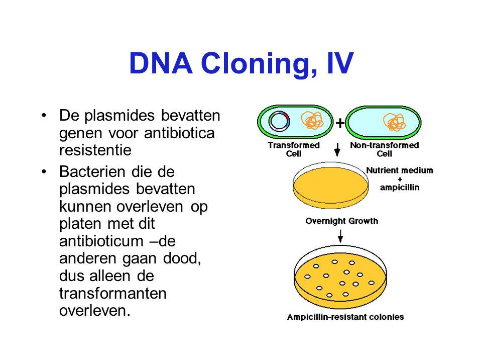 DNA Cloning, IV De plasmides bevatten genen voor antibiotica resistentie.