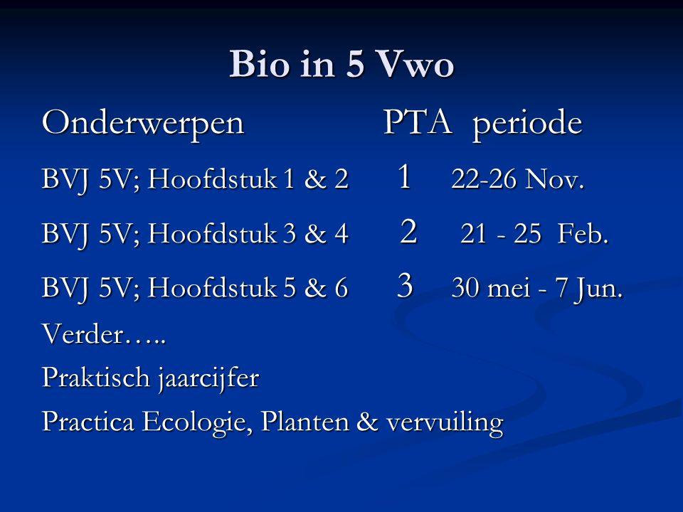 Bio in 5 Vwo Onderwerpen PTA periode