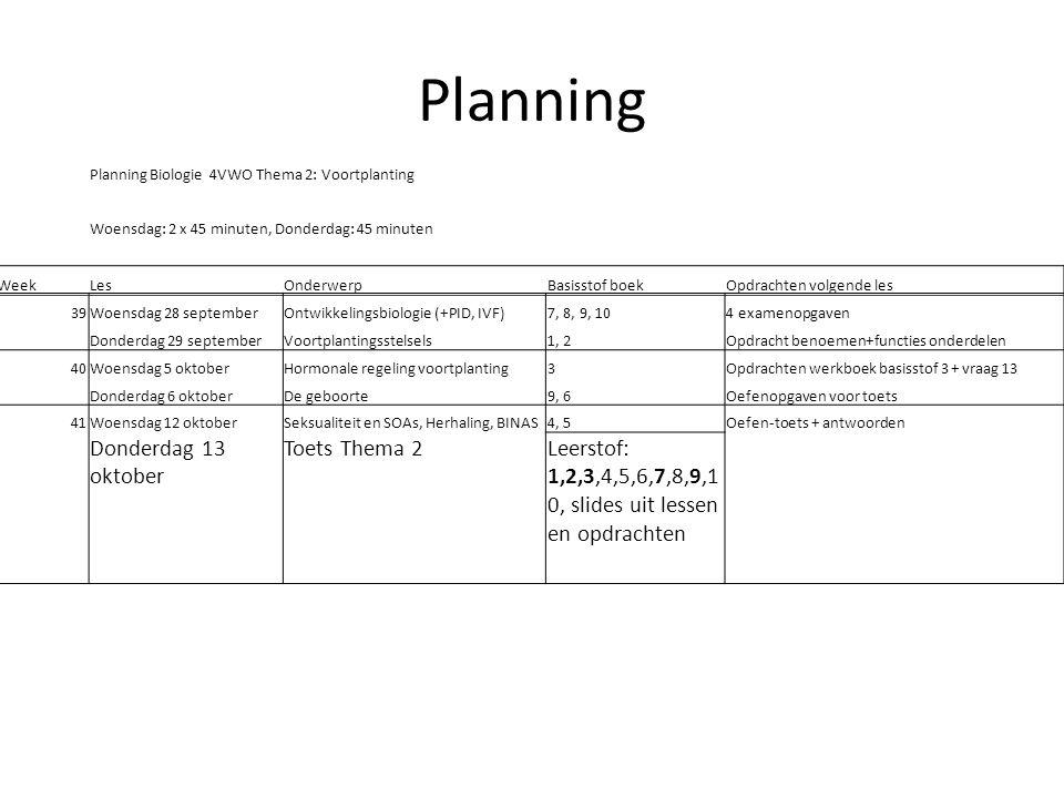 Planning Donderdag 13 oktober Toets Thema 2