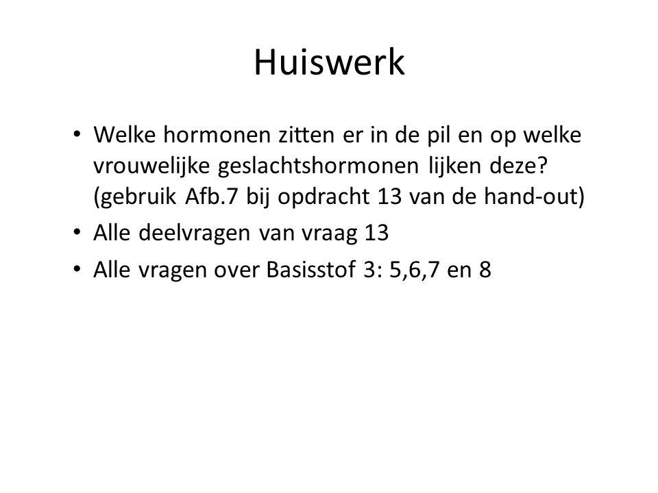 Huiswerk Welke hormonen zitten er in de pil en op welke vrouwelijke geslachtshormonen lijken deze (gebruik Afb.7 bij opdracht 13 van de hand-out)