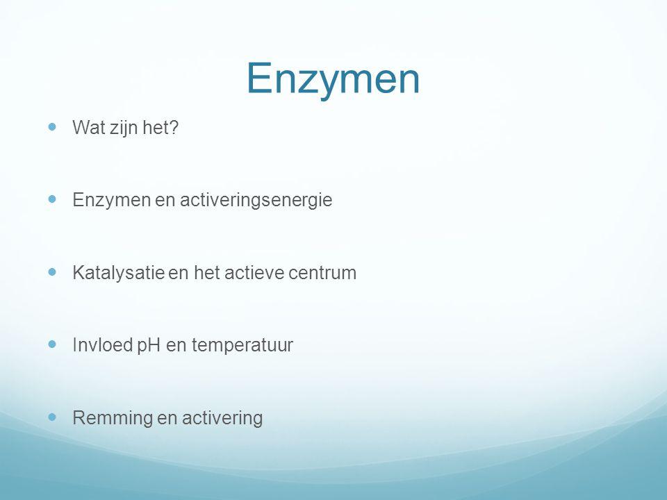 Enzymen Wat zijn het Enzymen en activeringsenergie