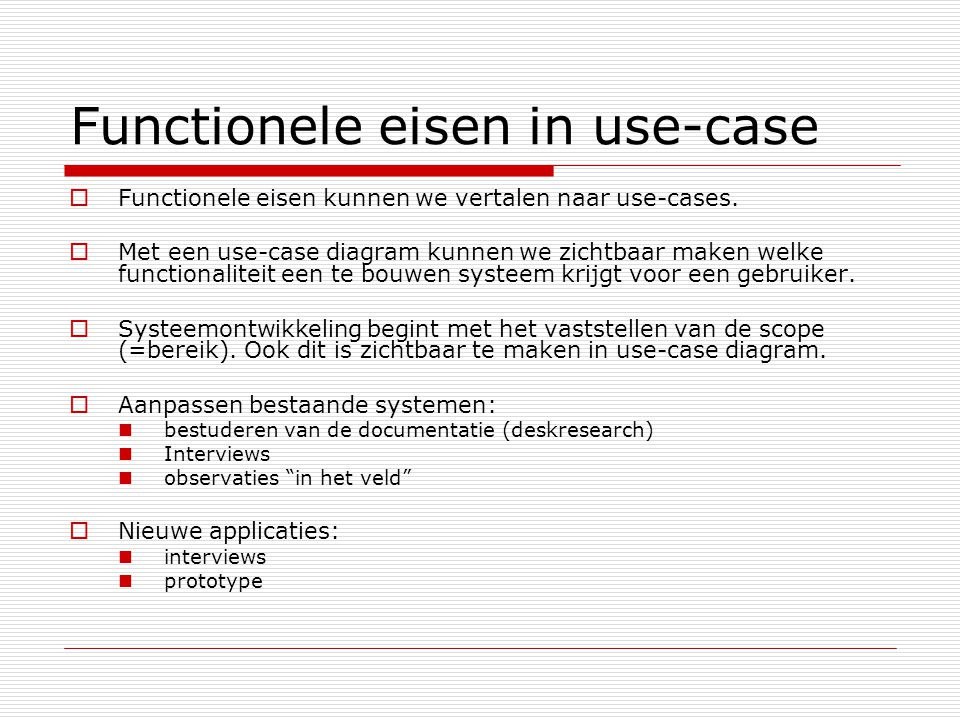 Functionele eisen in use-case