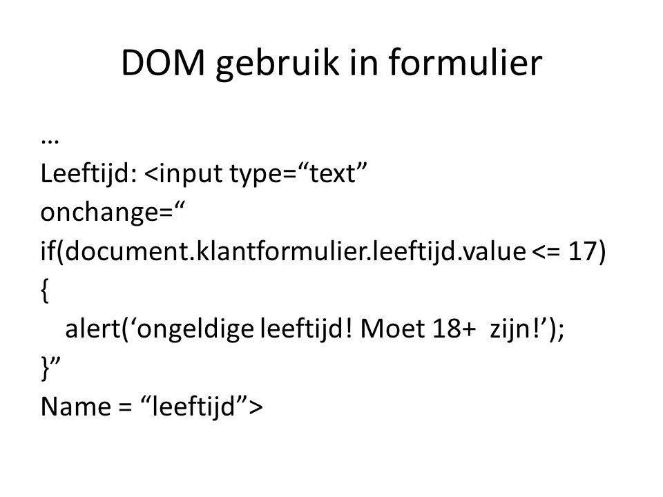 DOM gebruik in formulier