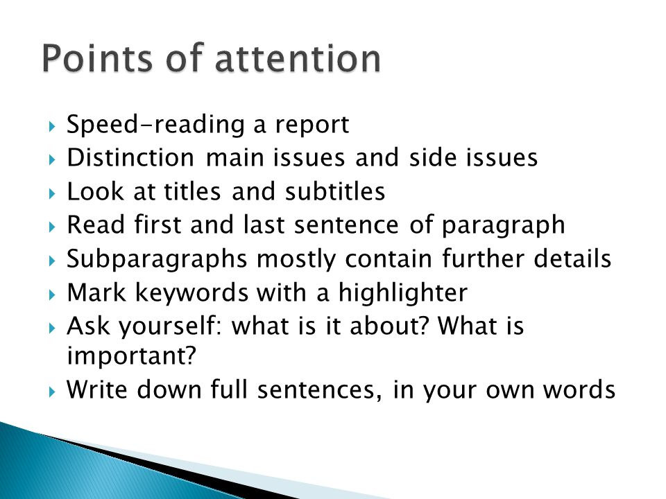 Points of attention Speed-reading a report