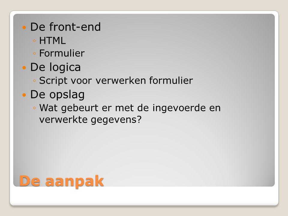 De aanpak De front-end De logica De opslag HTML Formulier