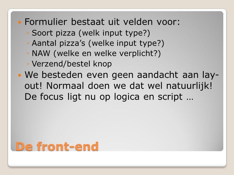 De front-end Formulier bestaat uit velden voor: