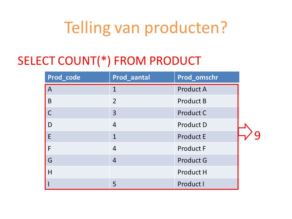 Telling van producten SELECT COUNT(*) FROM PRODUCT 9