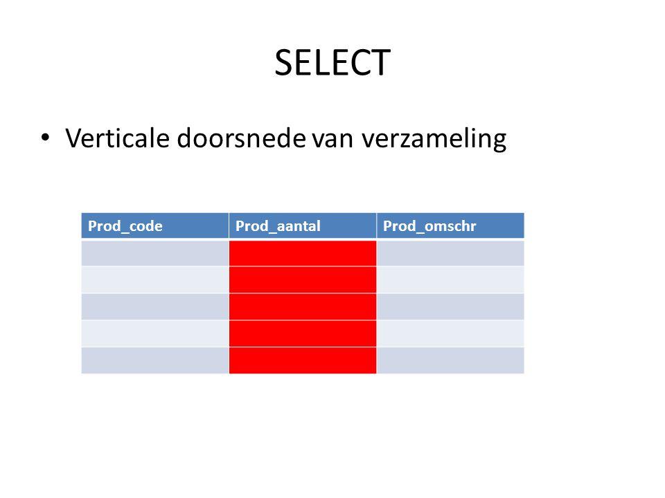 SELECT Verticale doorsnede van verzameling Prod_code Prod_aantal