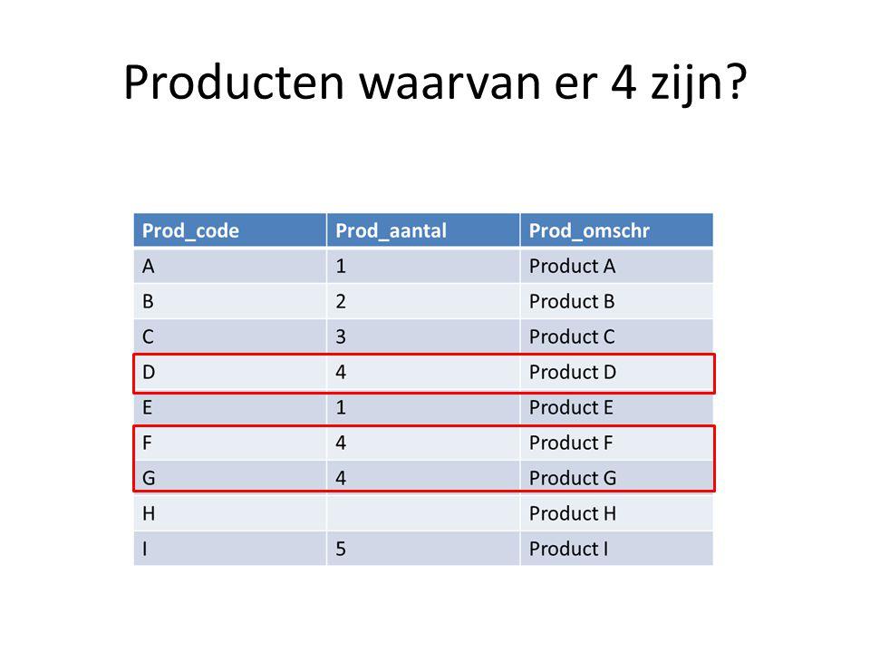 Producten waarvan er 4 zijn
