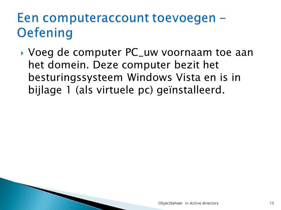 Een computeraccount toevoegen - Oefening