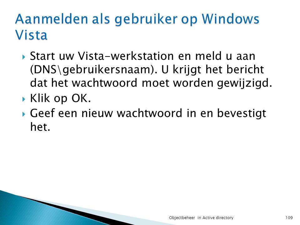 Aanmelden als gebruiker op Windows Vista