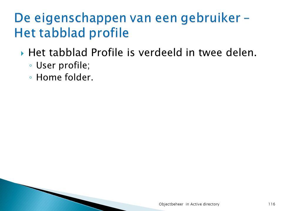 De eigenschappen van een gebruiker – Het tabblad profile