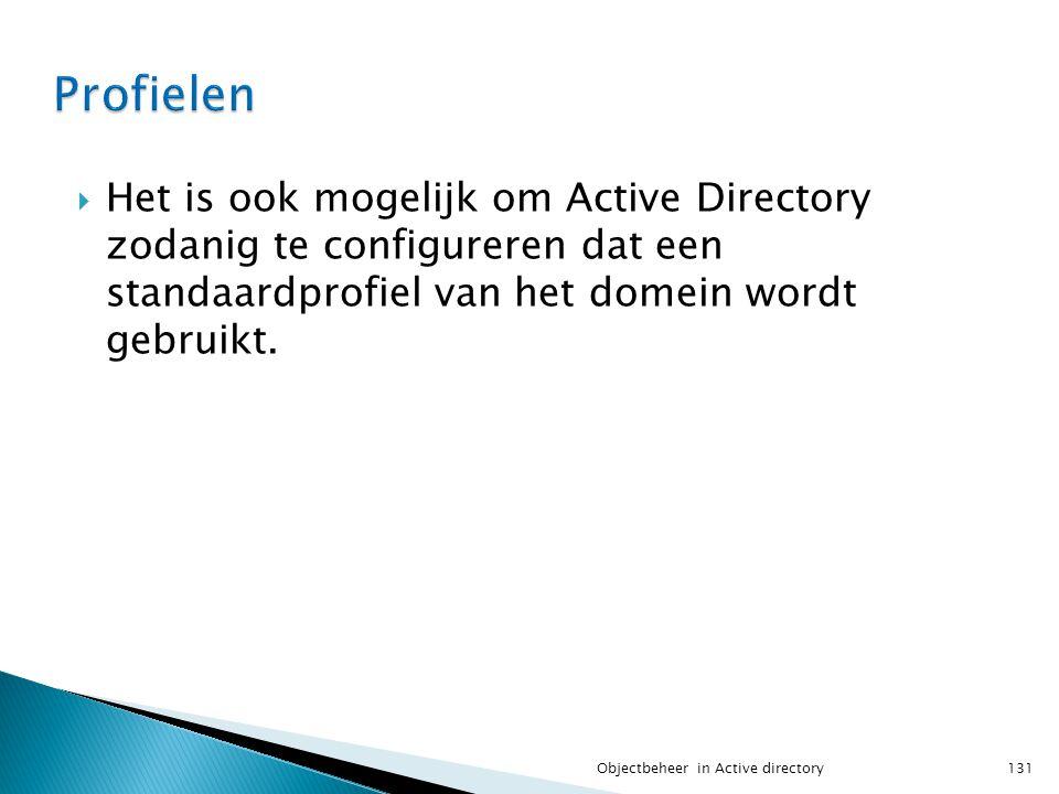 Profielen Het is ook mogelijk om Active Directory zodanig te configureren dat een standaardprofiel van het domein wordt gebruikt.